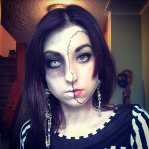 This is a low quality photo of the makeup I wore this year for Halloween. Unfortunately, I can't quite remember all of the products I used, but I've included the few that I do remember.