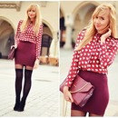 White Heart Pattern Red Chiffon Shirt