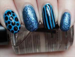 See more swatches & mini reviews of each of the polishes I used (from the China Glaze Cirque du Soleil Collection) here: http://www.swatchandlearn.com/nail-art-blue-fiend-nails/