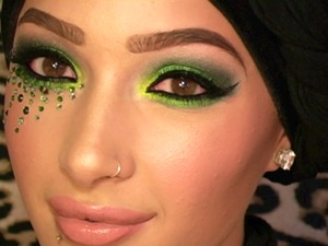 Sultry Green Smokey Eye With Real Swarovski Crystals