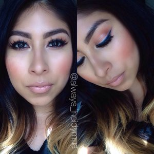 Blue eyeliner makeup and nude lips product info on my Instagram @always_heidymua