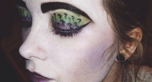 Riddler inspired makeup! I didn't have the correct brushes at the time, so the question marks are a bit sloppy.