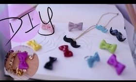 DIY Bow Ring & Mustache Necklace {How to Make}