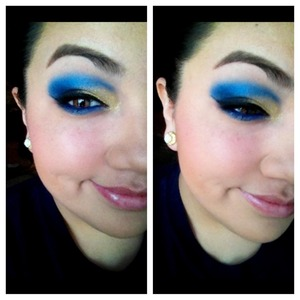 """A makeup look I did inspired by a school """"Red Cloud Crusaders"""" very bright and extreme, dare to wear type. #makeup"""