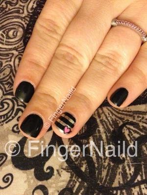 #nails #nailart #nailporn #nailswag #nailsoftheday #nailsdone #instanailart #instafamous #weheartnailart #instalove #love #valentines #heart #stripes #black #silver #manicure #nailartaddict #nailartdesign #nailartlove #cute