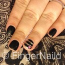 Black Valentines Striped Nail Art