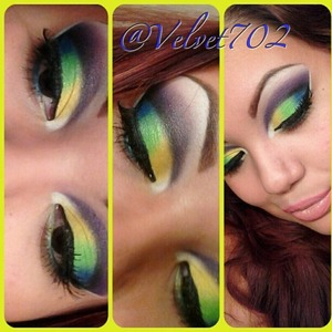 Using 120 bh cosmetics palette 1st edition.. NYC liquid eyeliner :) lashes I got at the ¢99 store.