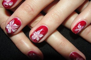 Amazing red with white nails