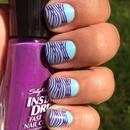 Turquoise and Purple Bandage Dress Nails