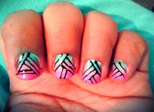 pink, blue and stripes degrade