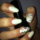 White Aztec nails