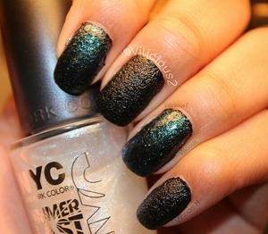 When I wore China Glaze Bump In The Night, I thought I'd spice it up a bit and apply a coat of NYC Shimmer Blast top coat on the index and ring fingers. ♡_♡ I loved this combo.