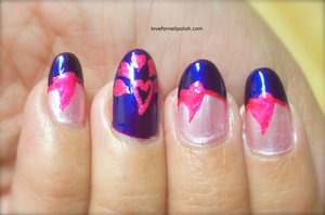 Detail Tutorial http://lovefornailpolish.com/pink-and-purple-nail-art-cute-pink-hearts-for-valentines-day