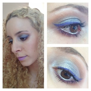 This is based on the MAC spring trend ideas brought to us by pixiwoo. I thought I'd do a slightly more dramatic version and add purple, as I like to do, but keep with the general theme of a touch of blue and natural highlighted skin.  http://michtymaxx.blogspot.com.au/2013/01/amped-up-spring-2013-trend-look.html