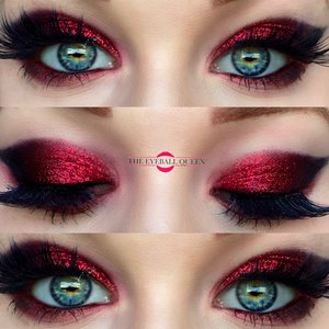 RED HOT RED! http://theyeballqueen.blogspot.com/2016/08/black-cherry-inspired-red-glittery.html