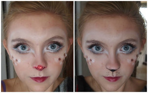 Here are the two variations of a Reindeer that I did for today's makeup. One is a regular reindeer and the other is Rudolph.