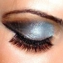 Dark Brown, Silver and Blue eyeshadow.