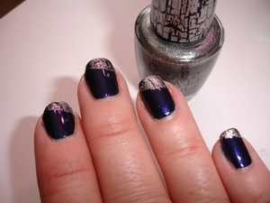 Shattered French Mani! OPI Silver Shatter over Nox Twilight in Talon.