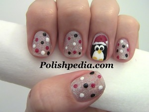 Aren't penguins absolutely adorable?    Watch My Video Tutorial @ http://polishpedia.com/penguin-christmas-nail-art.html