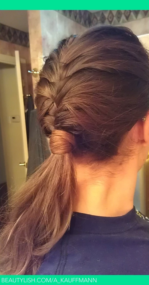 French Fishtail Braid Into Low Ponytail With Hair Wrapped Around