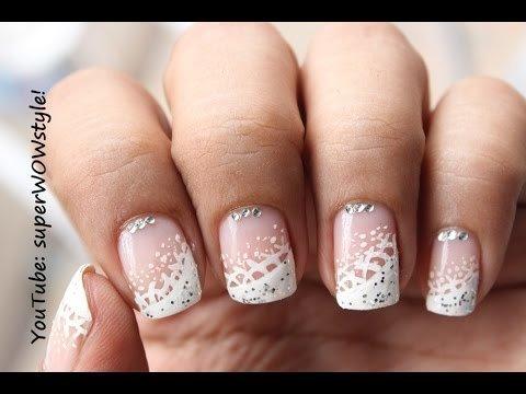 dainty  elegant  lace nail art french white tip nails