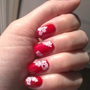 red nails, white roses