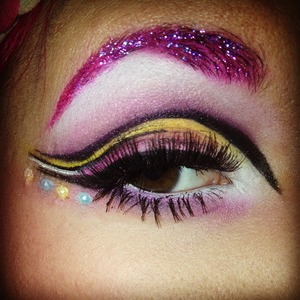 Inspired by princess bubblegum! Glitter brows, cut crease, and a whole lot of pink!