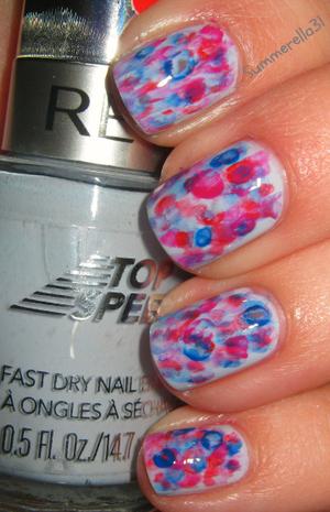Revlon Top Speed Cloud, Finger Paints Scarlet's Paint, China Glaze Fuchsia Fanatic and Ulta Blue Streak