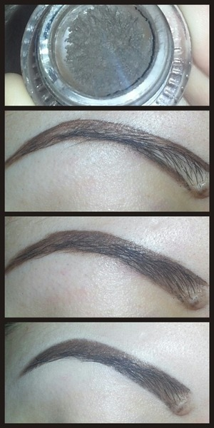 1. outline brow, I'm using maybelline eye studio gel liner in dark brown. 2. fill in brow with whatever is left on brush, I'm using an angled brush. 3. clean up with concealer and blend. 4. I didnt take a picture but I use a spoolie brush to blend and comb hairs upwards. (hairspray on spoolie so it stays in place.)