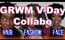 Valentine Day GRWM Collab | 4c Hair Twisted Bantu Knot Out Hairstyle 💝