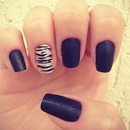 Matte black zebra nails!