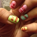 Candy heart nails