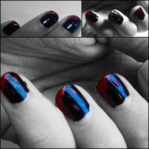 Halloween 2010.  Base Color: KIKO Milano - #275 black  Blood Drops: KIKO Milano - #285 scarlett red Shiny Top Coat.