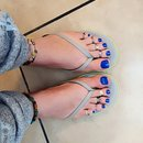 My Toes With Blue Metallic Polish! Love This Color!