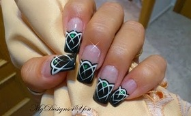 Mysterious Emerald Gem, Black and White Nail Art Design Tutorial - ♥ MyDesigns4You ♥