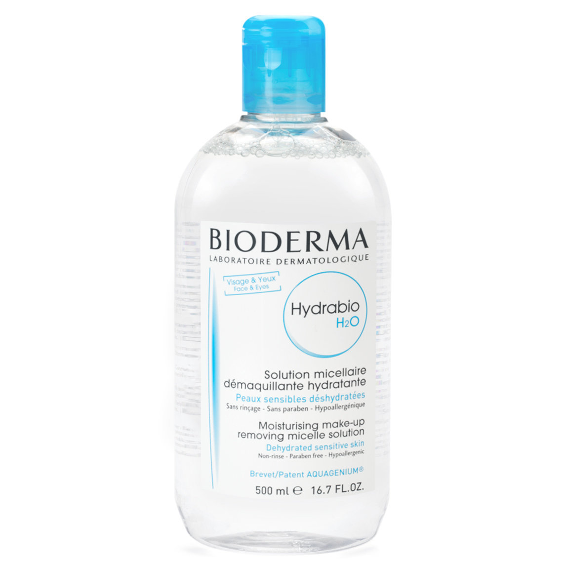 Bioderma Hydrabio H2O 500 ml product swatch.
