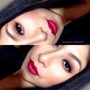 Soft Brown smokey eyes with red lips details on my Instagram @always_heidymua