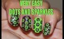 Fun Dots - Purple Glitter and Neon Green