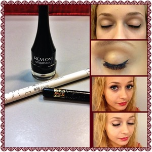 """Use the gel liner to line the top lashes as usual. At the outer corner, draw a diagonal line towards the end of your eyebrow. Then draw a line back down and connect it to your lash line - creating a slanted """"A"""" and color it in. Use the black pencil to line only on the lashes on the bottom. I use a q-tip to clean up the water line and below the lashes. Put on mascara, clean the water line, then put on the white liner! :)"""