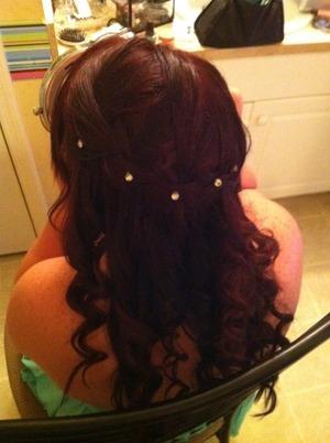 Waterfall Braid w/ Curls. The gems were put in with eyelash glue