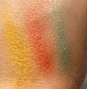 Swatches from the nyx shadows they will look more vibrant when I have a primer on