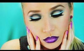 Graphic Neon Blue Eyeliner + Deep Purple Ombre Lips