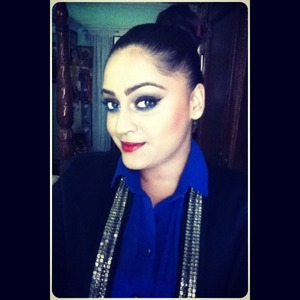 Sheer shirt, sleek bun, embellished blazer, smokey eyes and red lips .. Yes I'm good to go :)