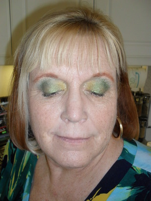 I did my moms makeup to match the colors in her top.  Colors unable to be tagged but used in look are Mac Chartreuse paint Mac-Sprout Mac-Rose Blanc Mac-Chrome Yellow