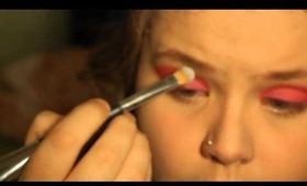 Bright Pink and Red with a little bit of Green Makeup Tutorial