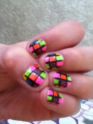 Colorful cube nails!