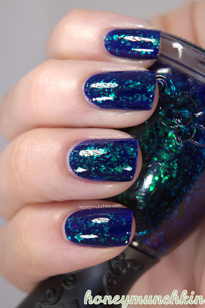 Nfu.Oh - 053 over one coat of Max Factor Glossfinity - 135 Royal Blue.  Original blog post and more information: http://wp.me/p22GZ2-17l