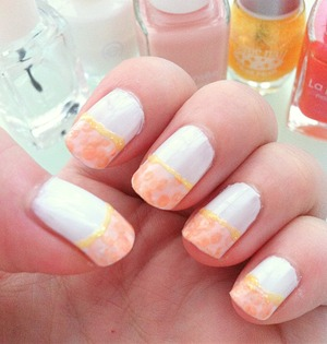 White base and floral pink+orange french nail