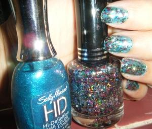 Loving this combo, this is the new Jordana glitter polish called Gemstones on top of Sally Hansen HD Byte.