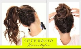 ★Cute BRAIDS BACK-TO-SCHOOL HAIRSTYLES Hair Tutorial | Braided Messy Bun Hairstyle